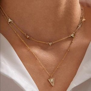 Layered Gold Triangle Necklace